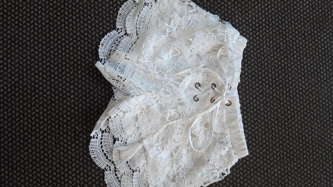 White, lace, tie up shorts