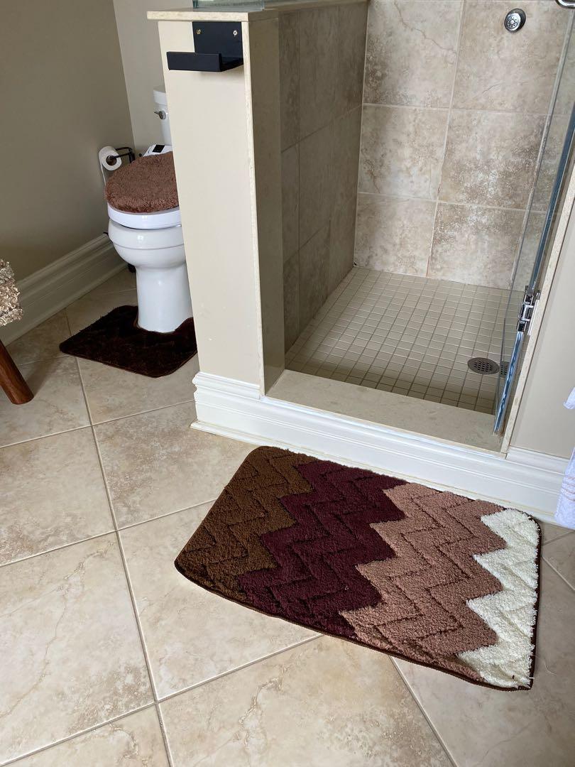 3 piece bathroom rug set