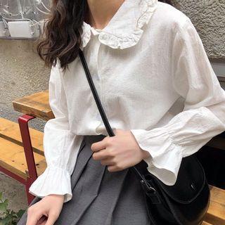 🔥大降價轉賣(最後一件)氣質長袖襯衫✨ 女生上衣  素色上衣 襯衣 古著 chic少女荷葉邊寬鬆襯衫
