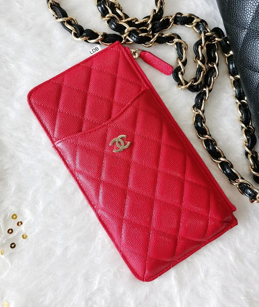 Authentic Chanel Classic All-in-One Flat Wallet / Phone Case Red Caviar Gold Hardware