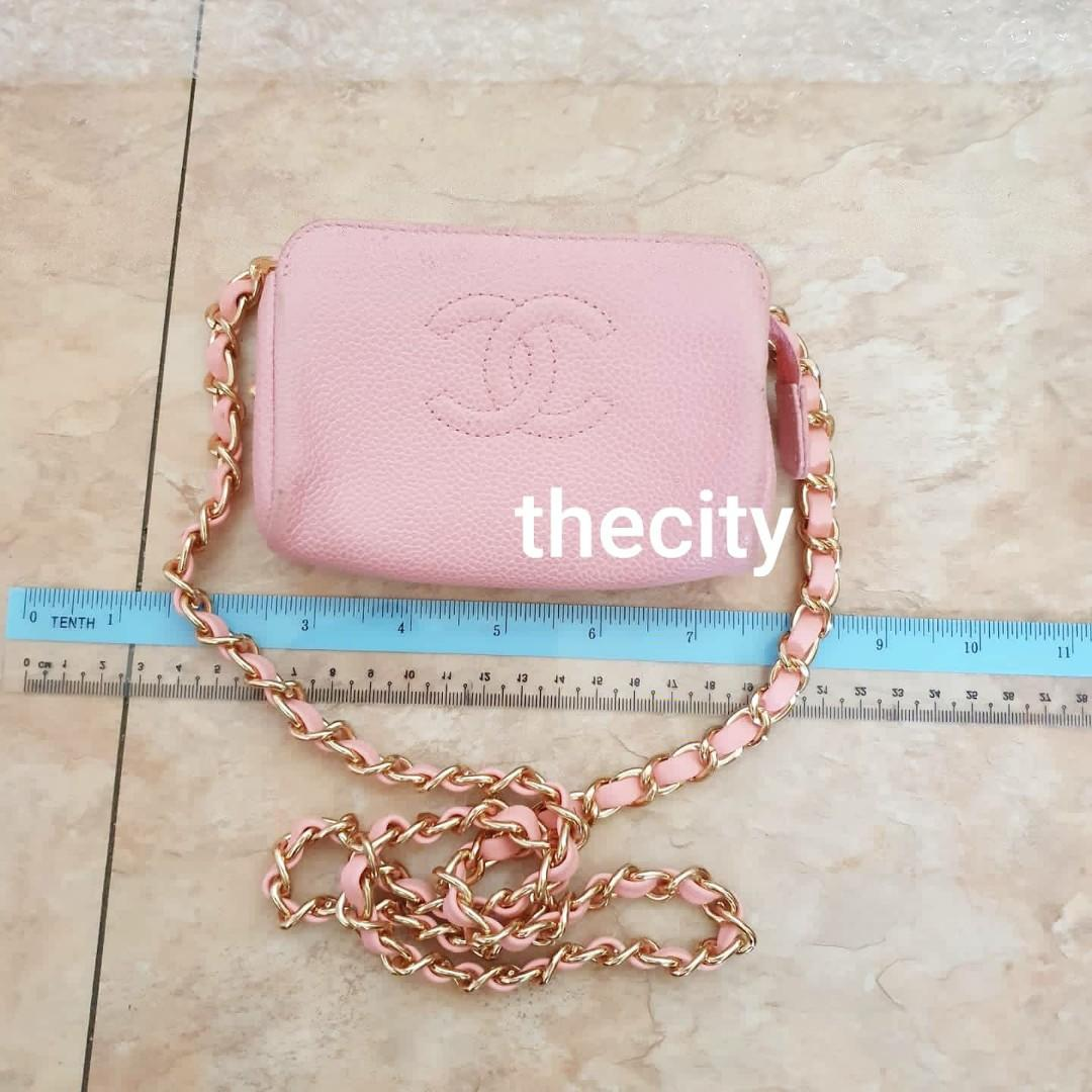 AUTHENTIC CHANEL PINK CAVIAR LEATHER VANITY POUCH BAG - CLASSIC TIMELESS BIG CC LOGO DESIGN - HOLOGRAM STICKER INTACT - CLEAN INTERIOR, NELWLY RELINED AT BAGSPA - GOLD HARDWARE - WITH EXTRA HOOKS & STRAP FOR CROSSBODY SLING