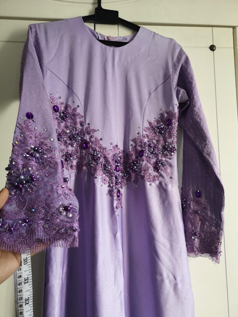 BAJU NIKAH PENGANTIN Dress modern Lavender labuci dan manik serta lace  swatting songket baju raya Aidilfitri Purple