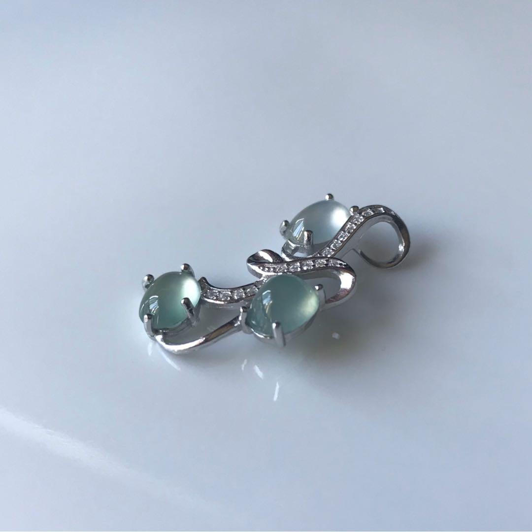 ICY jade Pendant with 925 silver and cubic zirconia - Natural Grade A Burmese Jadeite Authentic White and Green Icy Jade Cabochons