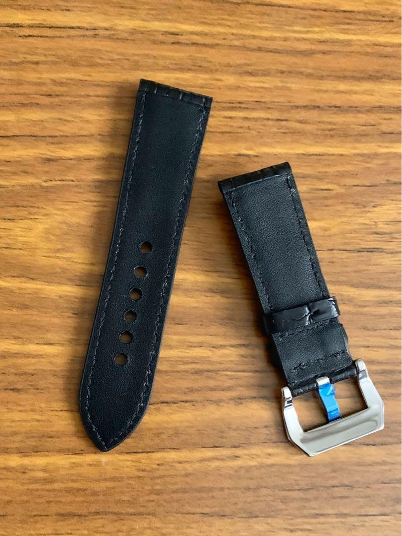 24mm/22mm Authentic Ebony Black Alligator 🐊 Crocodile Leather Watch Strap - (special rugged scales- full of character- only piece, once sold no more 👍🏻😊) (Standard length: L-120mm, S-75mm)