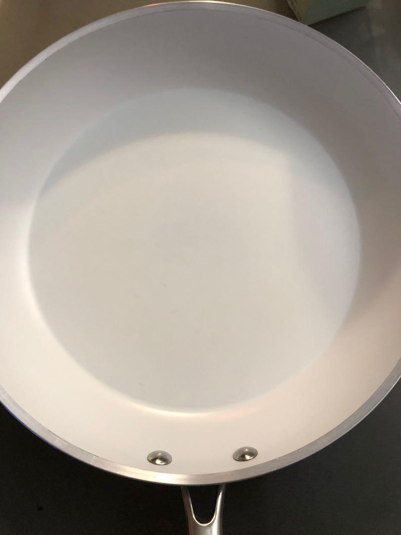 "Lagostina Bianco White Ceramic Fry Pan 12"" No Lid 95% New $40"