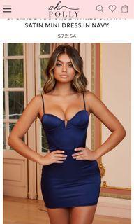 OHPOLLY navy blue satin dress