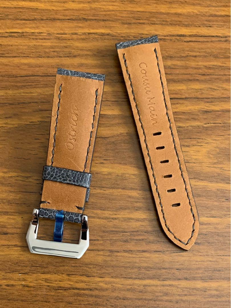 24mm/22mm Authentic Space Grey Ostrich Leg Leather Watch Strap - (NUBUCK texture-tanned, only one piece, once sold no more 👍🏻😊) (Standard length: L-120mm, S-75mm)