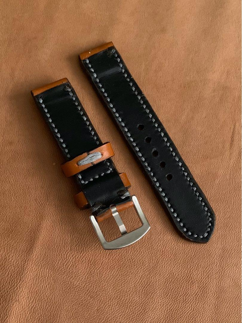 20mm/20mm Calf Leather Whiskey Brown Strap with Slate Grey Stitching and Comfortable Black Goatskin Lining Leather Watch Strap - 20mm@lug/20mm@buckle   (Length- L:120mm, S:75mm) (only 1 piece - once sold, no more😊) - looks excellent on diver watches!