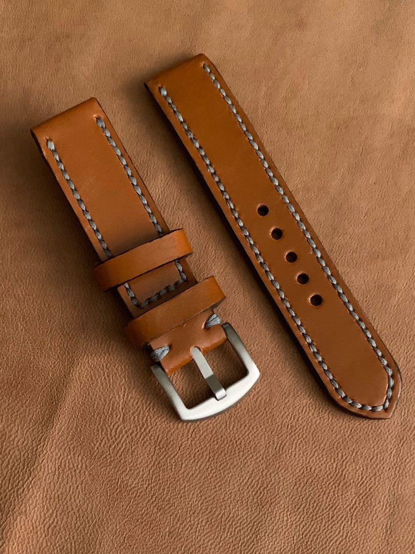[AVAILABLE] 20mm/20mm Calf Leather Whiskey Brown Strap Slate Grey Stitching Comfy Black Goatskin Lining Watch Strap - 20mm@lug/20mm@buckle   (L:120mm, S:75mm- IF RESERVED, PLS SCREENSHOT THIS ITEM AND TEXT US THRU AN ACTIVE LISTING TO BUY 🤗 Tq 🙏🏻)