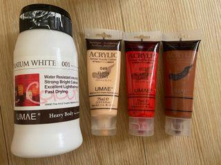 廣告顏料(白/紅/裸/咖啡色)/透明保護膠