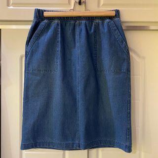 🛍二手衣大拍賣🛍 #UNIQLO #牛仔棉質彈性裙