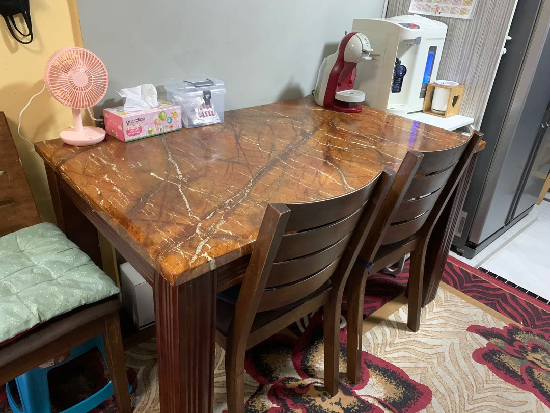 Brown Marble Dining Table Furniture Tables Chairs On Carousell