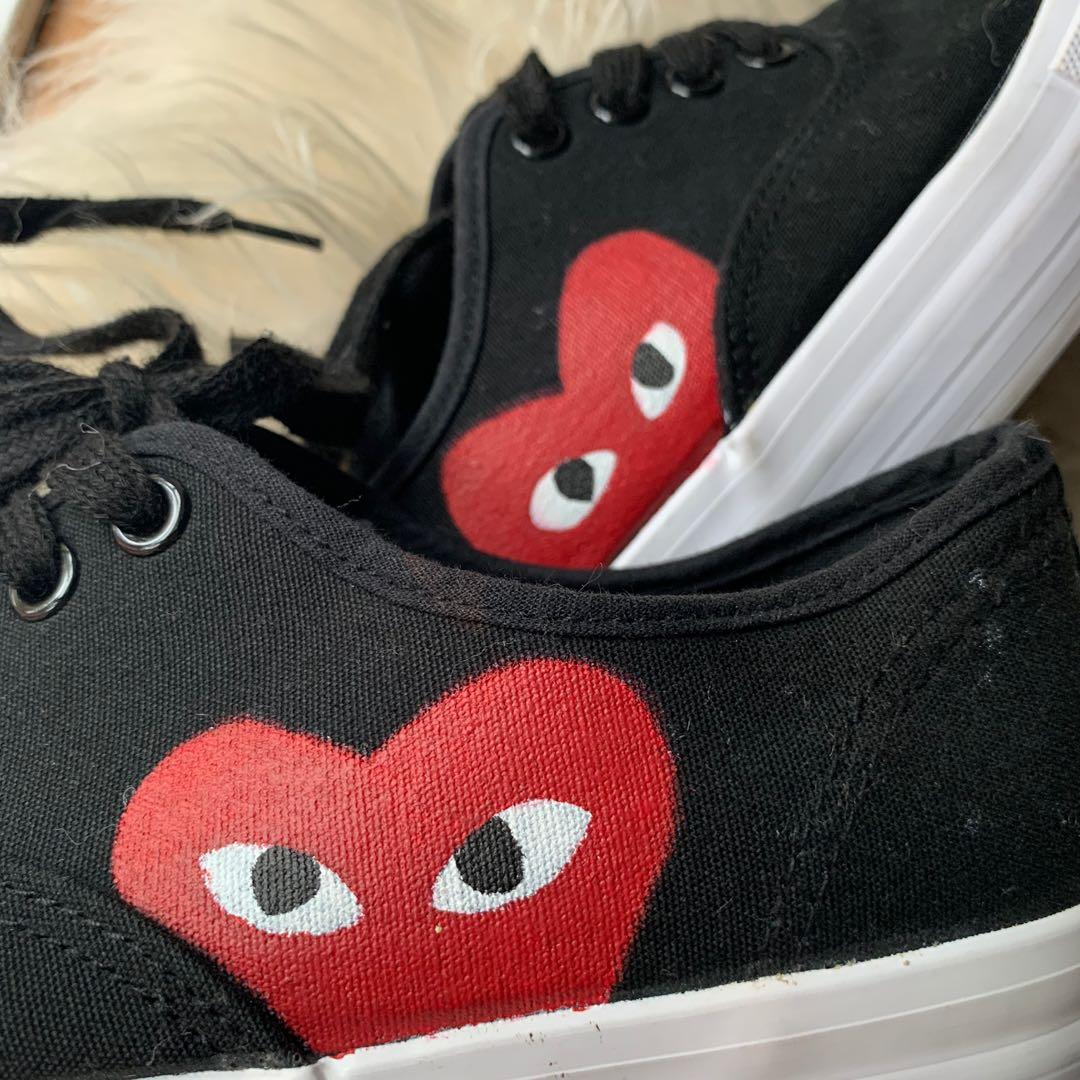 hand painted cdg inspired shoes