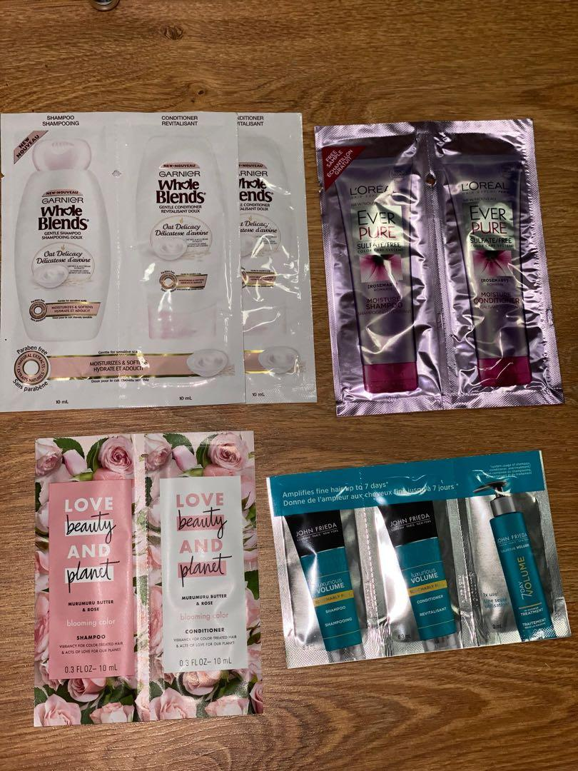Shampoo and conditioner samples