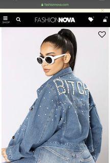 Fashion nova beaded jean jacket