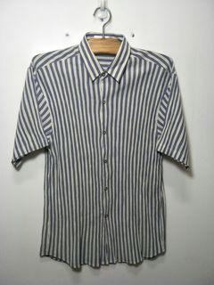 Ngu古著   直條紋 簡約系 短袖襯衫