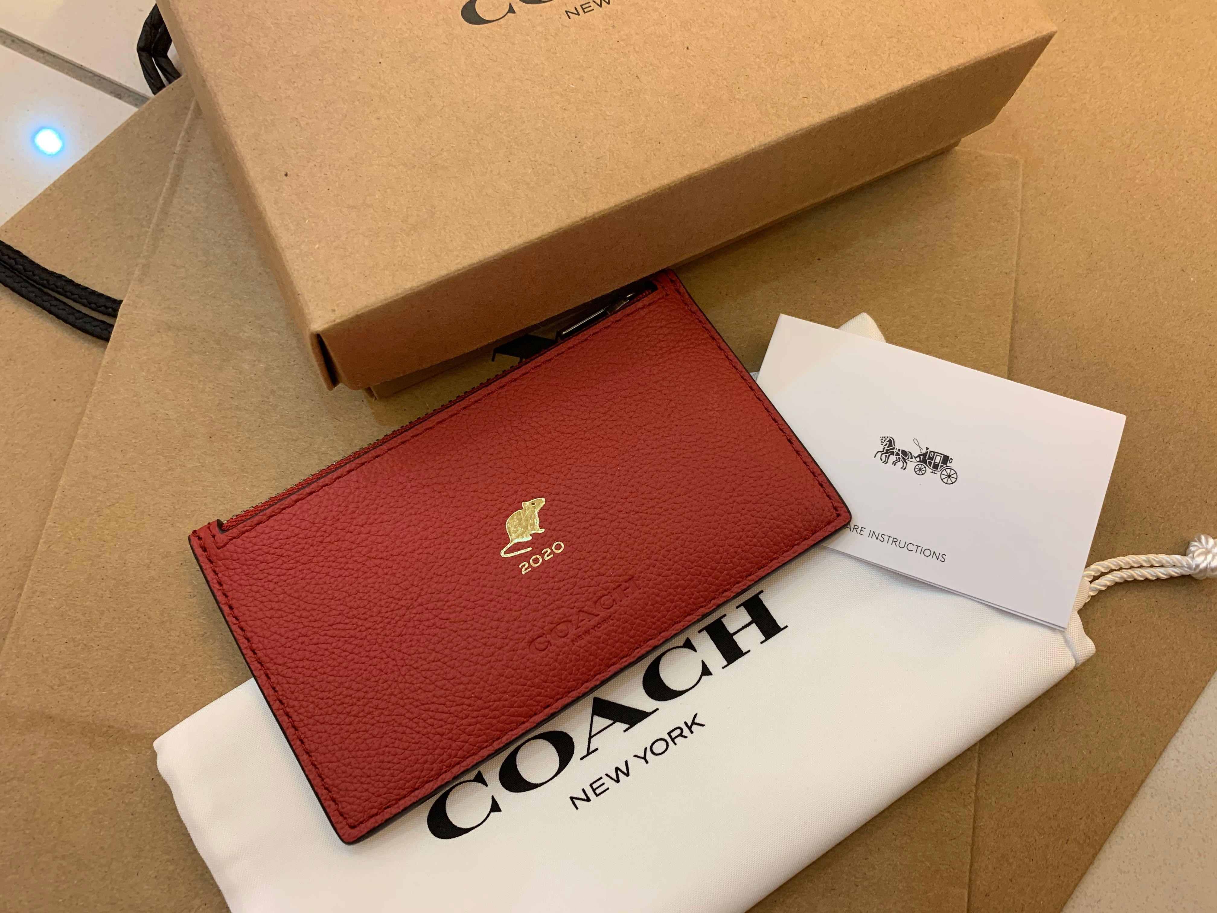 Ready Stock authentic coach rat year 2020 F88130 true red mouse CNY limited edition card holder coin bag