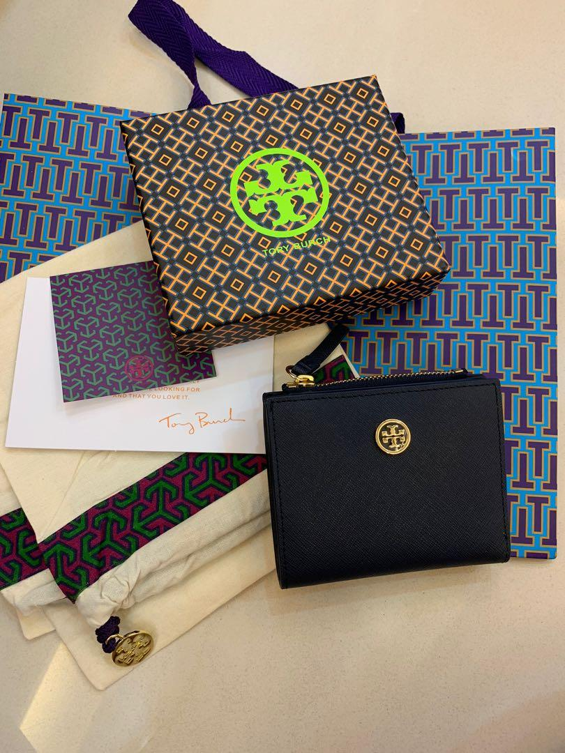 Ready Stock authentic Tory Burch Robinson small wallet purse in navy slim purse
