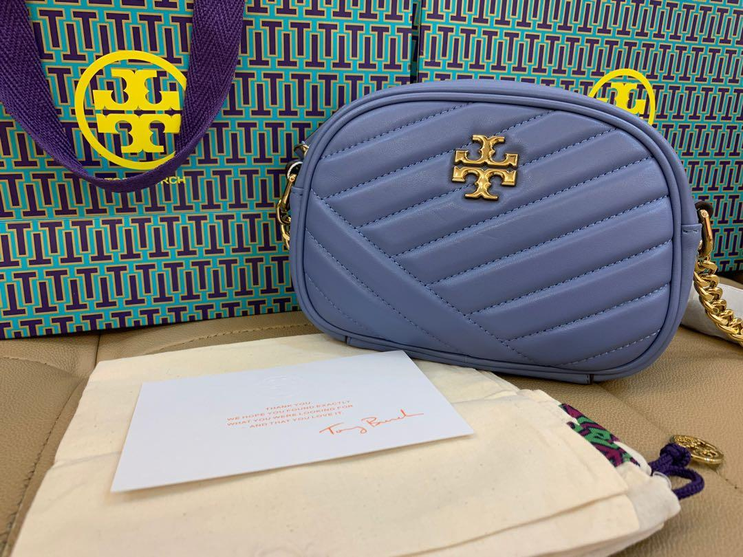 Ready Stock authentic Tory Burch small Kira chevron camera bag in bluewood small size