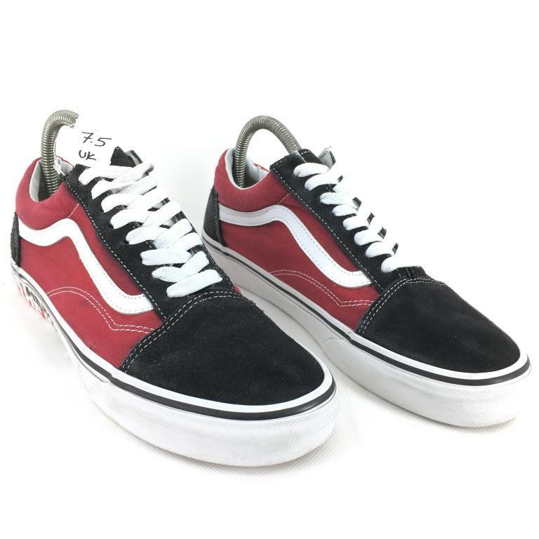 esta Folleto Pantalones  VANS OLD SKOOL BLACK RED SIZE : 7.5 UK (26.5CM), Men's Fashion, Footwear,  Sneakers on Carousell
