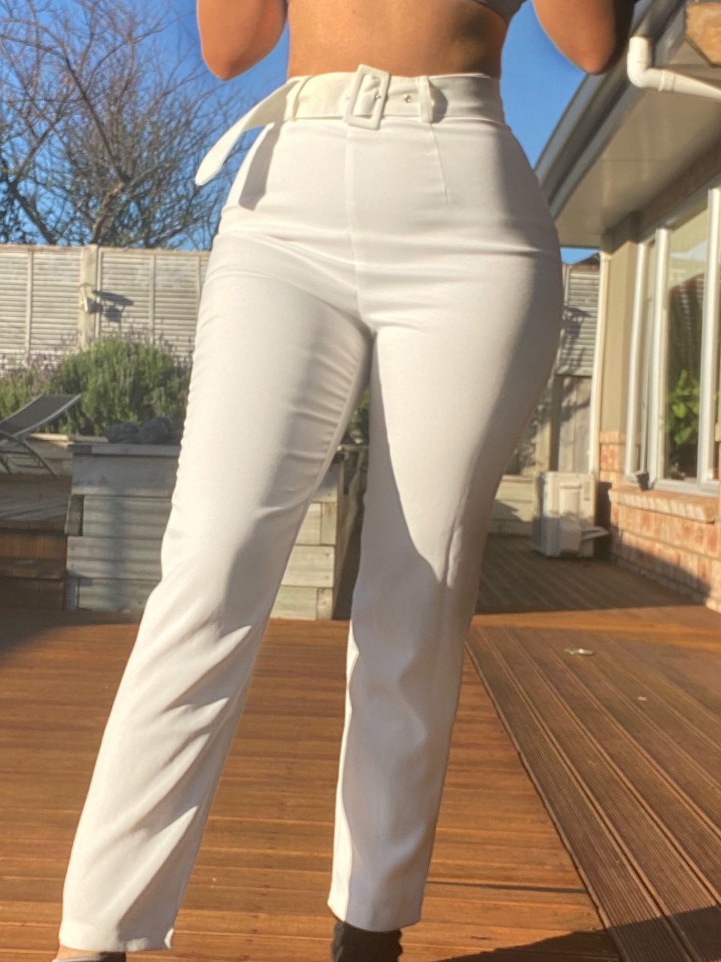 White pants work belt buckle