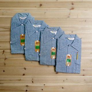 《白木11》 🇺🇸 70's Keys Imperial Chambray 美國製 青年布 牛仔 長袖 襯衫 古著