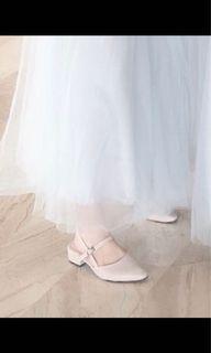 裸色奶茶色杏色低跟方跟尖頭新娘鞋伴娘鞋24.5穿一次