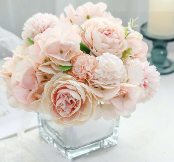 Artificial Pastel Flowers Vase Table Arrangement Gardening Flowers Bouquets On Carousell