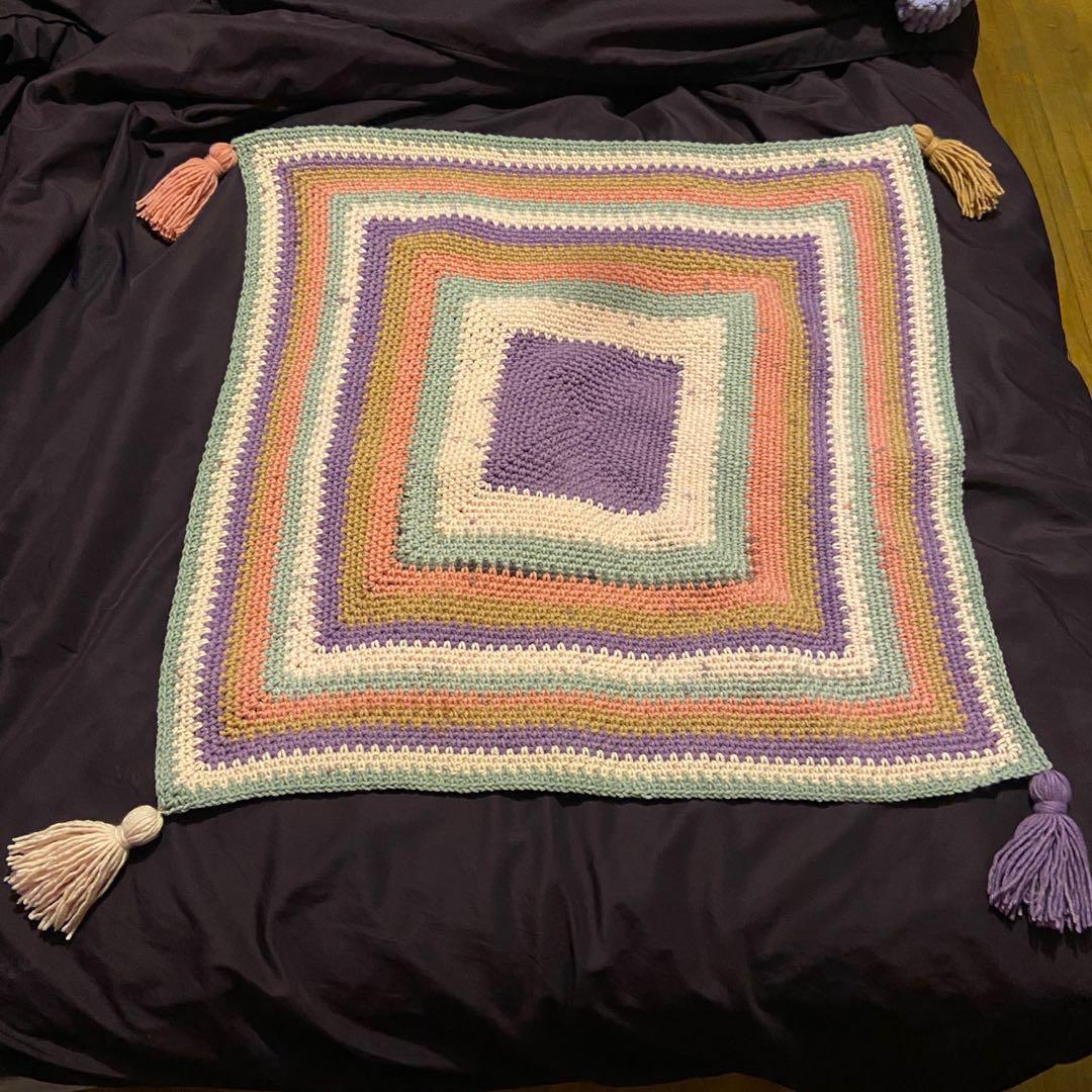 Handmade Crochet square blanket with tassels