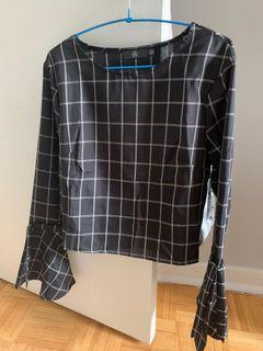 Missguided blouse with tie up sleeves