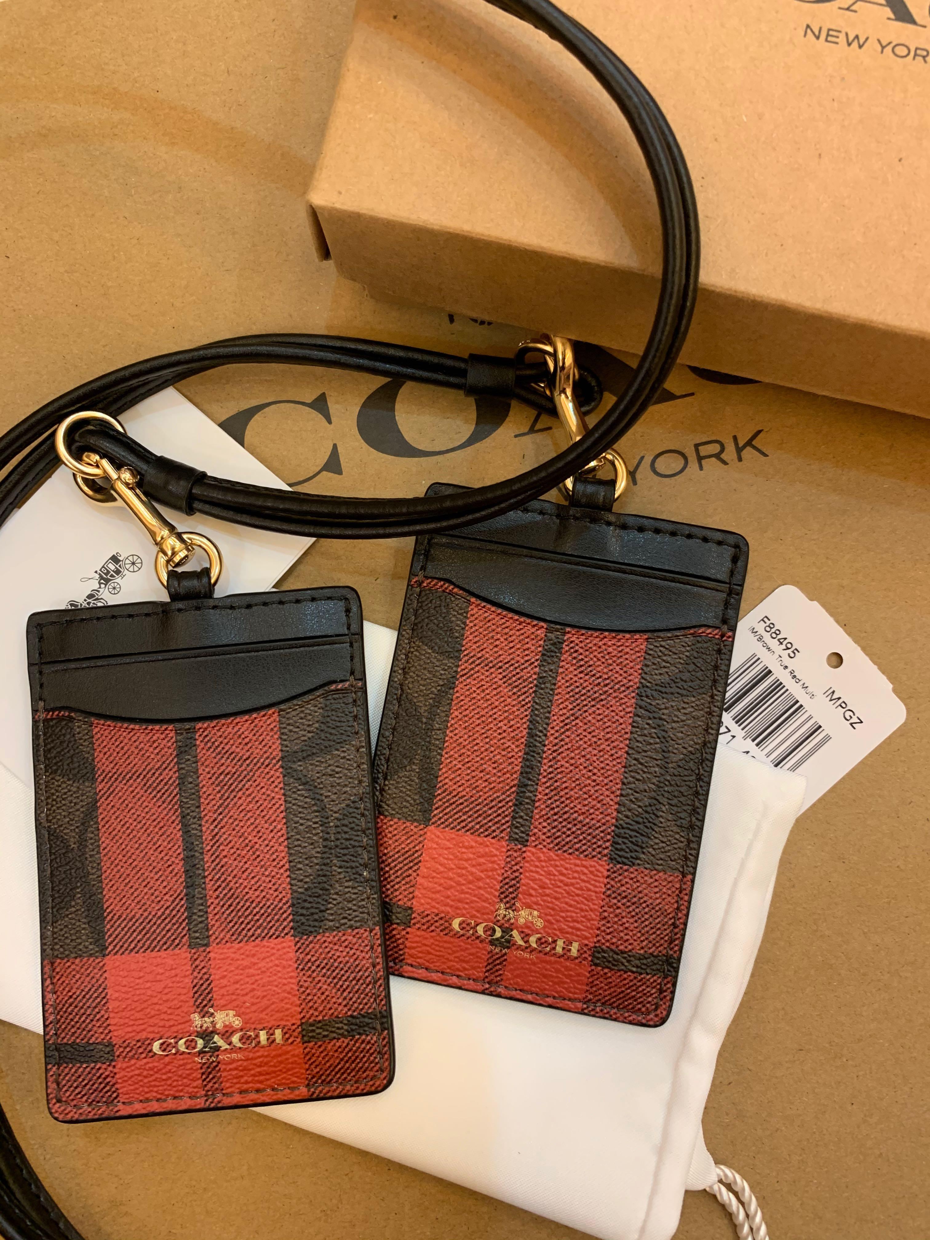 Ready Stock authentic coach women lanyard card holder  F88495 brown true red multi block