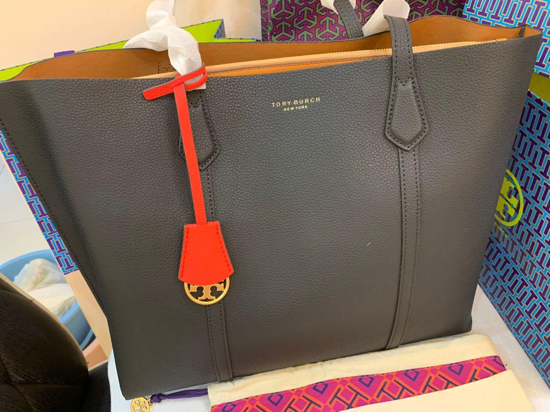 Ready Stock authentic Tory Burch Perry triple totes large summer clearance in black