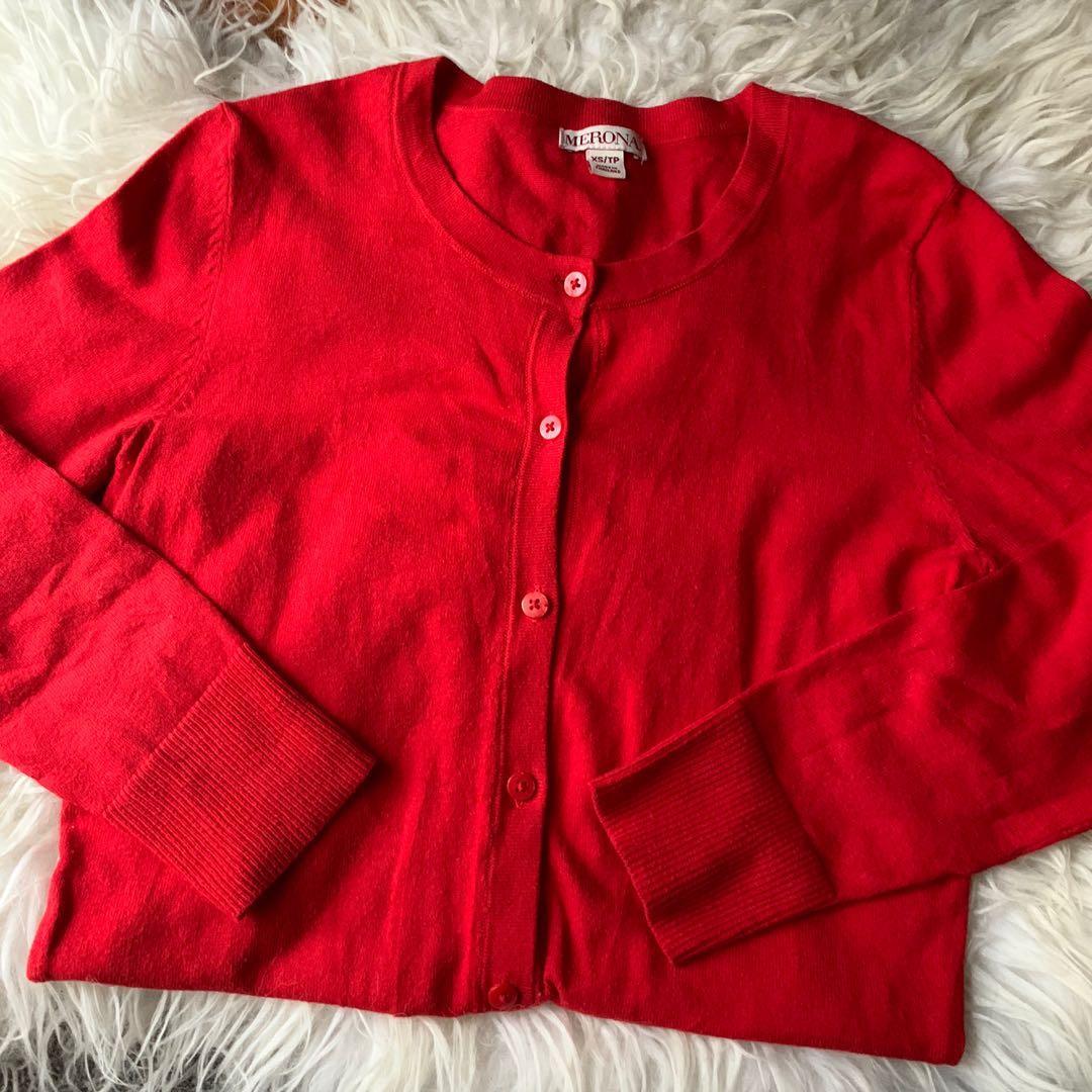 true red cardigan