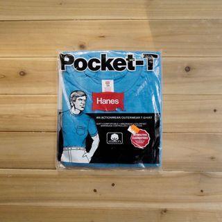 《白木11》 🇺🇸 80's Hanes pocket 美國製 水藍 圓領 短袖 素面 口袋T T恤 素T 古著
