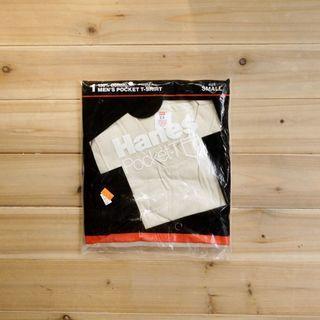 《白木11》 🇺🇸 80's Hanes pocket 美國製 卡其 圓領 短袖 素面 口袋T T恤 素T 古著