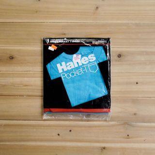 《白木11》 🇺🇸 80's Hanes pocket 美國製 青藍 圓領 短袖 素面 口袋T T恤 素T 古著