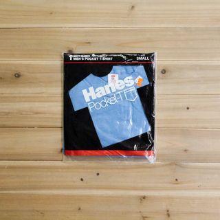 《白木11》 🇺🇸 80's Hanes pocket 美國製 淡藍 圓領 短袖 素面 口袋T T恤 素T 古著