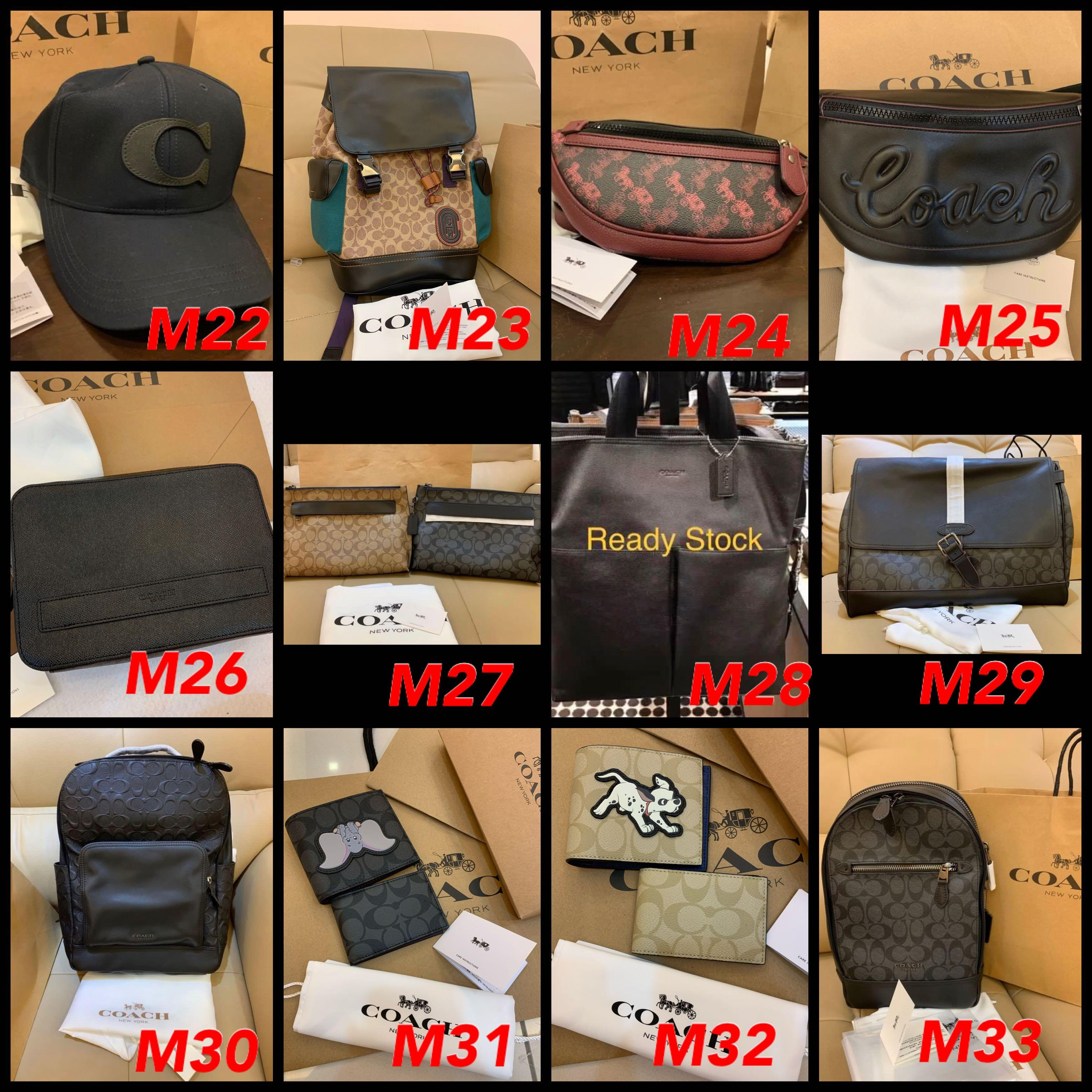 (20/06/20)Ready Stock Authentic coach men walle t purse belt leather backpack phone holder card holder clutch laptop bag chest bag messenger bag permanent listing