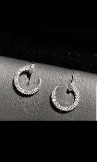 18k moon diamond paved earrings