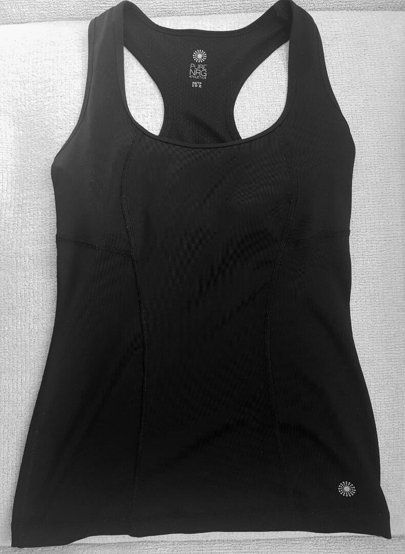 Black Sports Tank With Built In Bra