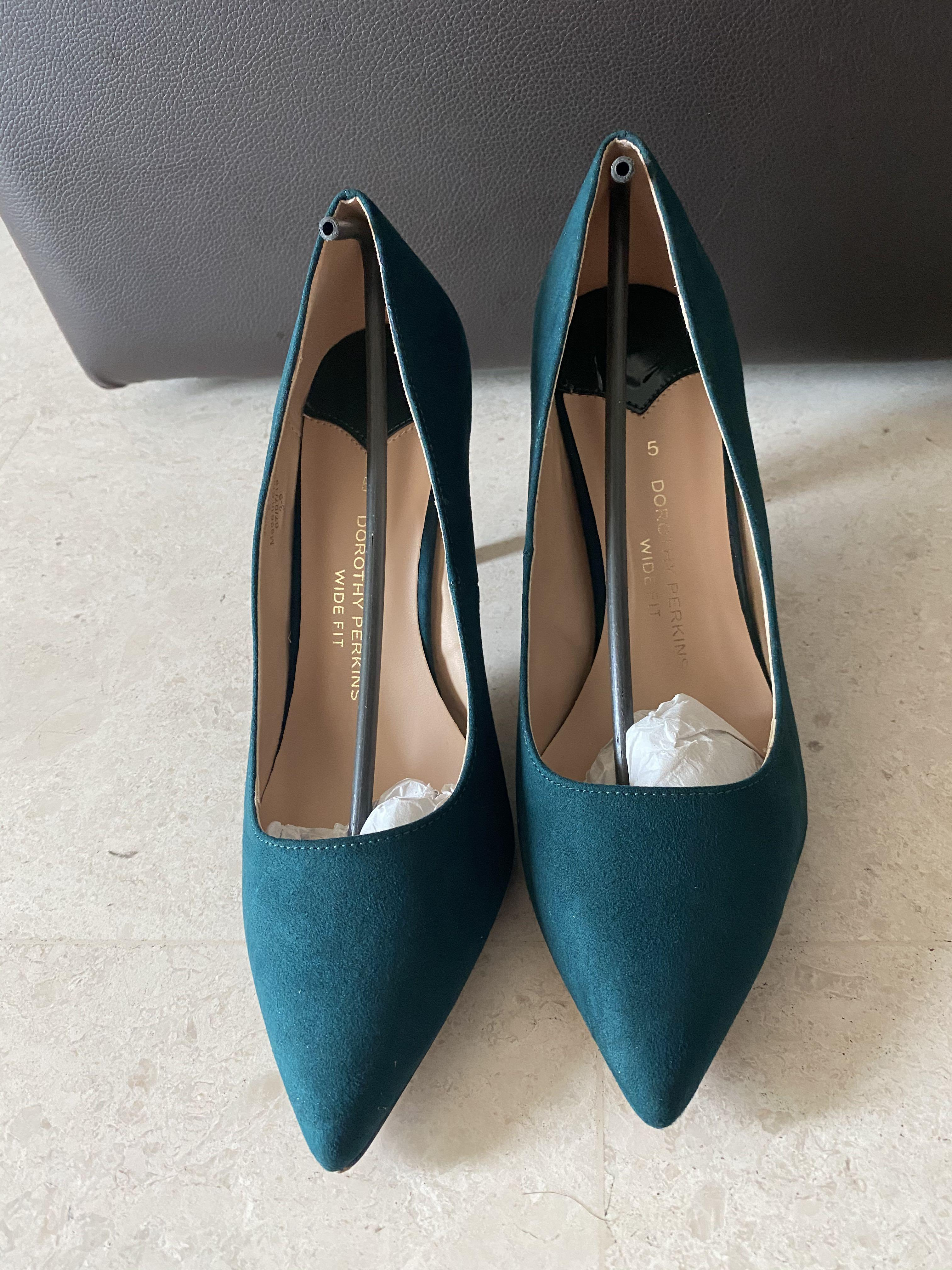 teal wide fit shoes with heels for work