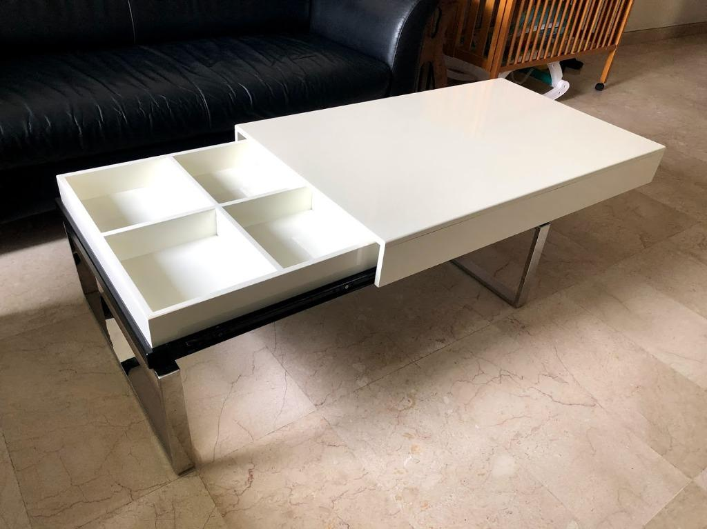 Coffee Table Sliding Storage White Furniture Tables Chairs On Carousell