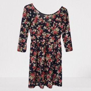 Forever 21 Floral Dress 3/4 Sleeves Size Small
