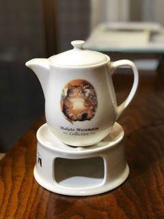 Makoto Muramatsu 村松誠手繪貓咪陶瓷茶壺組 蠟燭加熱款  下午茶茶具