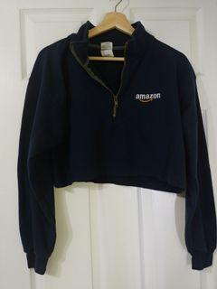 Navy Crop Quarter Zip Sweatshirt