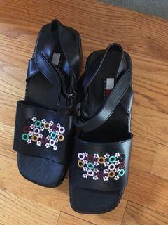 New black platform wedge sandals