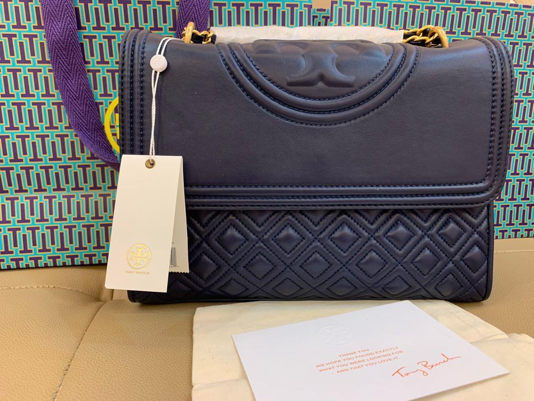 Ready Stock Authentic Tory Burch Fleming Navy convertibles bag in Royal Naby