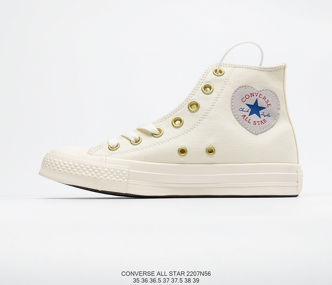Converse Cream High cut with Side Zips