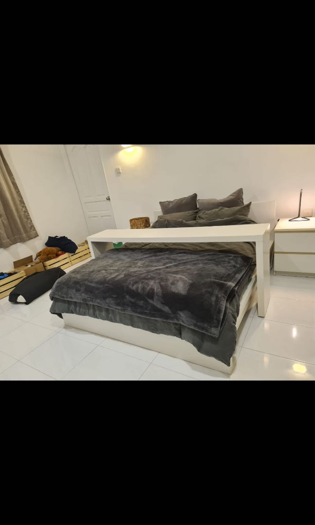 Ikea White Queen Bed With Bedside Tables And Bed Table Furniture Beds Mattresses On Carousell