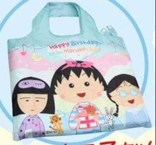 《iMoney》660期別注版「櫻桃小丸子摺疊環保袋」連雜誌(粉藍睡衣派對款)
